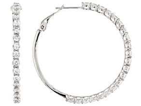 White Cubic Zirconia Rhodium Over Sterling Silver Earrings 8.35CTW