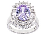 Purple And White Cubic Zirconia Rhodium Over Sterling Silver Ring 8.70CTW