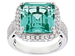 Synthetic Green Spinel And White Cubic Zirconia Rhodium Over Sterling Silver 9.10CTW