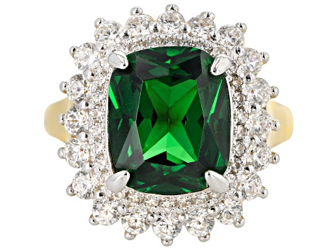 Green And White Cubic Zirconia 18K Yellow Gold Over Sterling Silver 13.87CTW