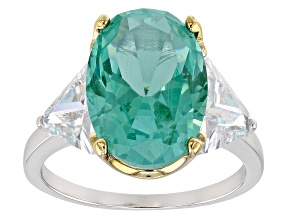 Synthetic Green Spinel And White Cubic Zirconia 18K Yellow Gold/Rhodium Over Silver Ring12.49CTW