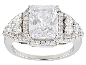 White Cubic Zirconia Rhodium Over Sterling Silver Ring 5.20CTW