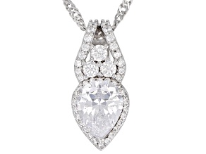 White Cubic Zirconia Rhodium Over Sterling Silver Pendant With Chain 3.31CTW
