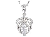 White Cubic Zirconia Rhodium Over Sterling Silver Pendant With Chain 1.12CTW
