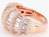 White Cubic Zirconia 18K Rose Gold Over Sterling Silver Ring 5.58CTW