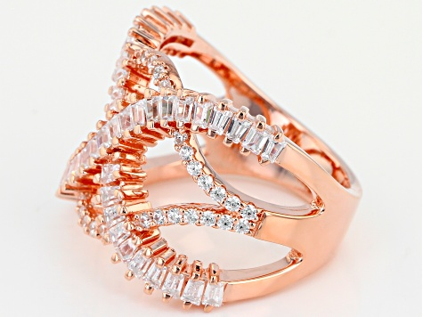 White Cubic Zirconia 18K Rose Gold Over Sterling Silver Ring 2.21CTW