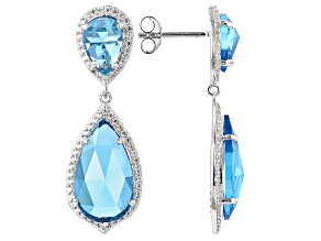 Blue Cubic Zirconia Rhodium Over Sterling Silver Earrings 15.58CTW