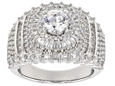 White Cubic Zirconia Rhodium Over Sterling Silver Ring 4.46CTW