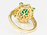 Green And White Cubic Zirconia 18K Yellow Gold Over Sterling Silver 3.33CTW