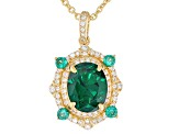 Green and White Cubic Zirconia 18K Yellow Gold Over Sterling Silver Pendant With Chain 3.24CTW