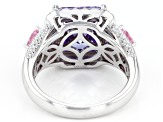 Purple, Pink, And White Cubic Zirconia Rhodium Over Sterling Silver Ring 8.81CTW