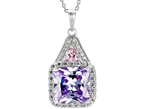 Purple, Pink And White Cubic Zirconia Rhodium Over Sterling Silver Pendant With Chain 9.24CTW