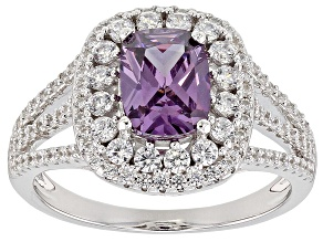 Purple And White Cubic Zirconia Rhodium Over Sterling Silver Ring 3.56CTW