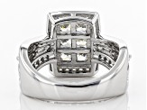 White Cubic Zirconia Rhodium Over Sterling Silver Ring 2.73CTW