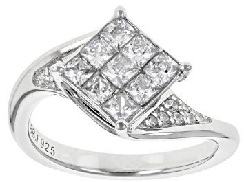 Picture of White Cubic Zirconia Rhodium Over Sterling Silver 1.55CTW