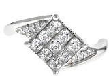 White Cubic Zirconia Rhodium Over Sterling Silver 1.55CTW