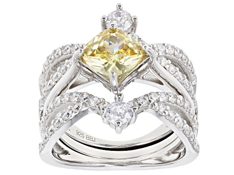 Yellow And White Cubic Zirconia Rhodium Over Sterling Silver Ring With Guard 5.00CTW