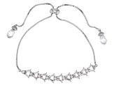White Diamond Simulant Rhodium Over Sterling Silver Adjustable Bracelet 6.08CTW