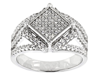 Picture of White Cubic Zirconia Rhodium Over Sterling Silver Ring 1.34CTW