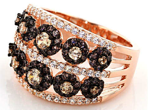 Brown, Champagne, And White Cubic Zirconia 18K Rose Gold Over Sterling Silver Ring 2.35CTW