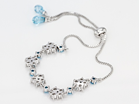 Blue And White Cubic Zirconia Rhodium Over Sterling Silver Adjustable Bracelet 8.59CTW