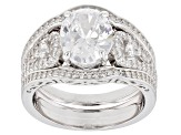White Cubic Zirconia Rhodium Over Sterling Silver Ring 5.54CTW