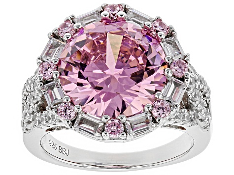 Pink And White Cubic Zirconia Rhodium Over Sterling Silver Ring 13.50CTW