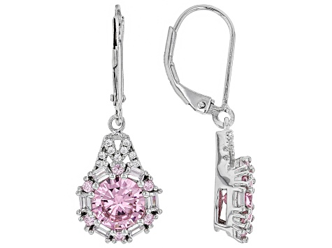 Pink And White Cubic Zirconia Rhodium Over Sterling Silver Earrings 5.58CTW
