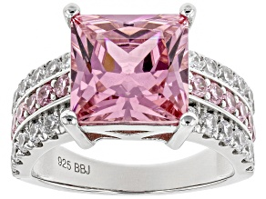 Pink And White Cubic Zirconia Rhodium Over Sterling Silver Ring 11.08CTW