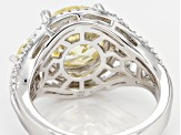 Yellow And White Cubic Zirconia Rhodium Over Sterling Silver Ring 8.09CTW