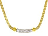 White Cubic Zirconia 18K Yellow Gold Over Sterling Silver Cluster Necklace 1.38ctw