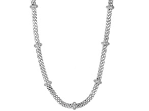 White Cubic Zirconia Rhodium Over Sterling Silver Station Necklace 0.56ctw.