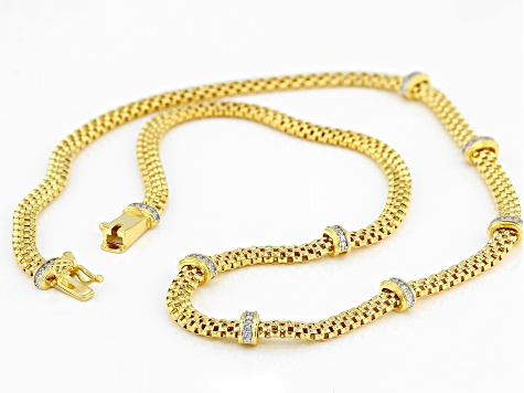 White Cubic Zirconia 18K Yellow Gold Over Sterling Silver Station Necklace 0.56ctw