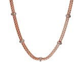 White Cubic Zirconia 18K Rose Gold Over Sterling Silver Station Necklace 0.56ctw