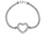 White Cubic Zirconia Rhodium Over Sterling Silver Heart Bracelet 2.10ctw