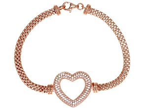 White Cubic Zirconia 18K Rose Gold Over Sterling Silver Heart Bracelet 2.10ctw