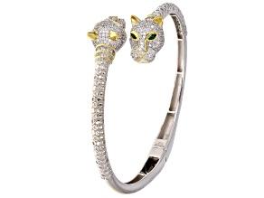 Emerald Simulant & White Cubic Zirconia Rhodium Over Silver Animal Bracelet 4.61ctw