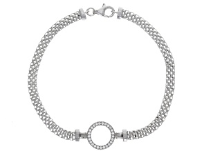 White Cubic Zirconia Rhodium Over Sterling Silver Mesh Bracelet 0.25ctw