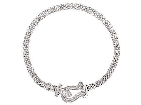 White Cubic Zirconia Rhodium Over Sterling Silver Statement Bracelet 0.64ctw