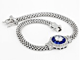 Lab Created Blue Spinel & White Cubic Zirconia Rhodium Over Sterling Silver Mesh Bracelet 2.24ctw