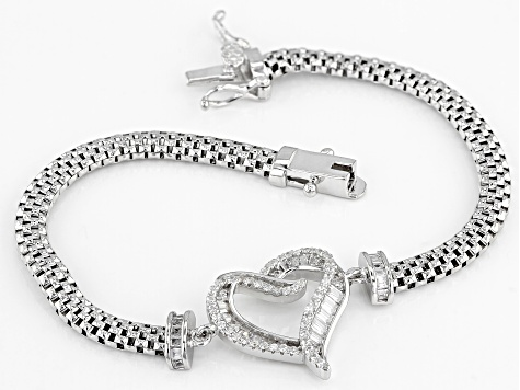 White Cubic Zirconia Rhodium Over Sterling Silver Heart Bracelet 1.79ctw