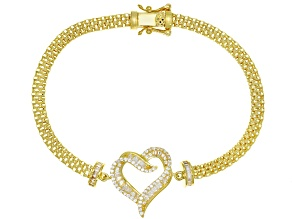 White Cubic Zirconia 18K Yellow Gold Over Sterling Silver Heart Bracelet 1.79ctw
