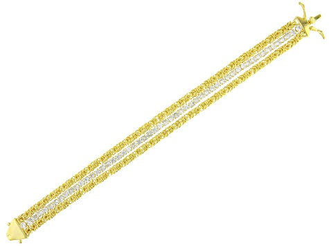 White Cubic Zirconia 18K Yellow Gold Over Sterling Silver Multi Row Bracelet 9.41ctw