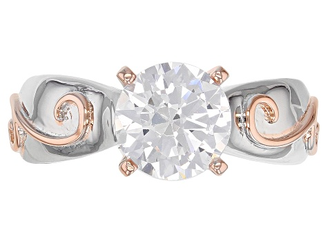 White Cubic Zirconia 18K Rose Gold And Rhodium Over Sterling Silver Ring 3.30CTW