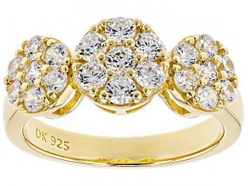 Picture of White Cubic Zirconia 18K Yellow Gold Over Sterling Silver Ring 2.18CTW