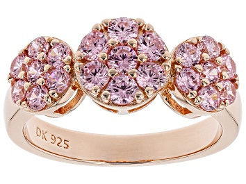 Picture of Pink Cubic Zirconia 18K Rose Gold Over Sterling Silver Ring 2.18CTW