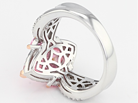 Pink And White Cubic Zirconia 18K Rose Gold & Rhodium Over Sterling Silver Ring 6.65CTW