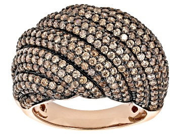 Picture of Brown Cubic Zirconia 18K Rose Gold And Black Rhodium Plating Over Sterling Silver Ring 5.67CTW