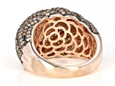 Brown Cubic Zirconia 18K Rose Gold And Black Rhodium Plating Over Sterling Silver Ring 5.67CTW