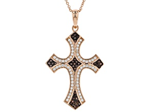 Brown And White Cubic Zirconia 18K Rose Gold Over Sterling Silver Cross Pendant With Chain 0.94CTW